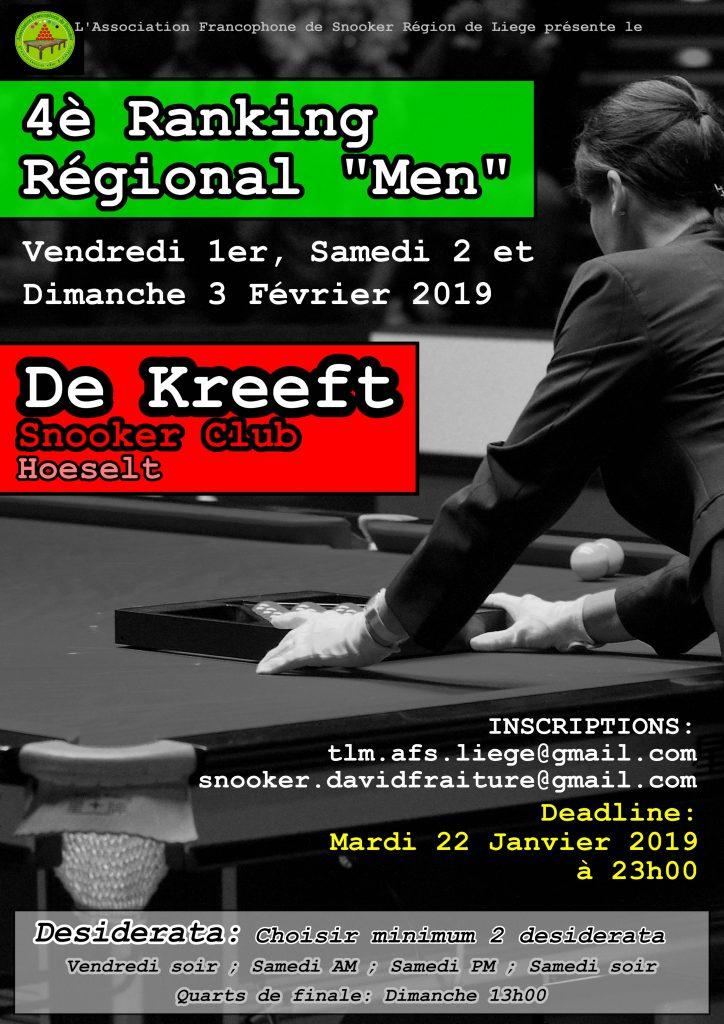 4ème Ranking Men au Kreeft les 1er, 2 & 3 février 2019. Inscriptions AVANT le mardi 22 janvier 23h. Minimum 2 desiderata.