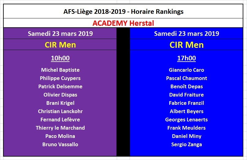 Horaire CIR Men 23 mars 2019