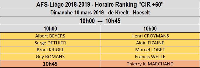 Horaire du CIR +60 du 10 mars au Kreeft